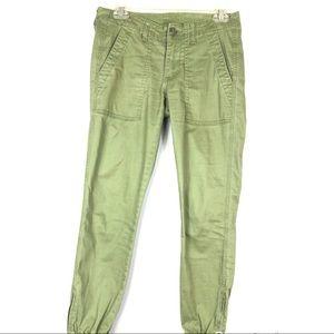 CAbi green traveler Jogger cropped pants